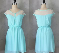 PETIT DEJEUNER  Seafoam teal aqua dress with by FleetCollection, $48.00