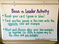 3rd Grade Thoughts: Bosses vs. Leaders Lesson + Freebies