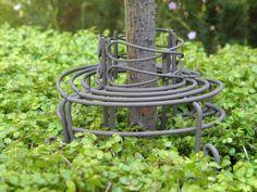Miniature Dollhouse FAIRY GARDEN Furniture ~ Rustic Iron Tree Hugger Bench  NEW