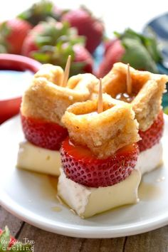 Strawberry-Brie Waffle Bites drizzled with sweet maple syrup make a deliciously simple brunch time appetizer!