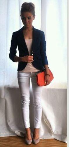 White skinny jeans, navy blazer