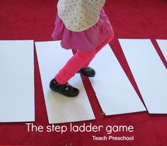 Step Ladder Game by Teach Preschool-- call out different ways to walk across the ladder (body awareness/control)-- could do animal walks across or work on praxis Gross Motor Activities, Movement Activities, Preschool Games, Teach Preschool, Work Activities, Preschool Curriculum, Montessori Activities, Indoor Activities, Preschool Crafts