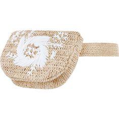 ZIMMERMANN Embroidered Raffia Belt Bag (8.964.130 VND) ❤ liked on Polyvore featuring bags, belt bag, waist pack bag, hip fanny pack, zimmermann and raffia bag