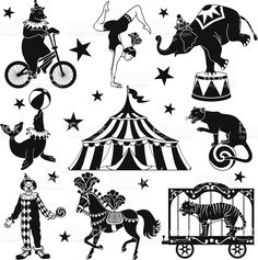Vector illustrations of circus characters: bear riding a bicycle, acrobat, elephant standing on one foot, seal balancing Circus Art, Circus Theme, Circus Tattoo, Circus Illustration, Circus Characters, Circo Vintage, Theme Tattoo, Silhouette Clip Art, Clowns