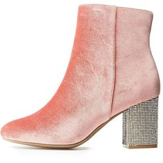 Charlotte Russe Rhinestone Embellished Velvet Booties (651.580 VND) ❤ liked on Polyvore featuring shoes, boots, ankle booties, mauve, charlotte russe, velvet booties, ankle length boots, high ankle boots and high ankle booties
