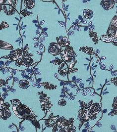 Snuggle Flannel Fabric 42''-Birds & Vines on Green