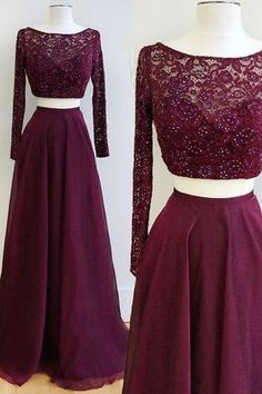 Two Piece Burgundy Bateau Long Sleeves Floor-Length Prom Dress with Lace Beading Prom Dress With Sleeves Lace Prom Dress Long Prom Dress Burgundy Prom Dress Two Pieces Prom Dress Prom Dresses 2019 Prom Dresses Two Piece, Prom Dresses Long With Sleeves, Homecoming Dresses, Sexy Dresses, Dress Prom, Prom Gowns, Grad Dresses, Long Dresses, Sleeved Prom Dress