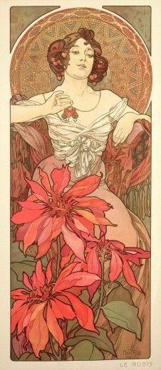 Alphonse Mucha (1860-1939). The Precious Stones: Ruby. 1900. Colour lithograph. Mucha Museum - Prague - Czech Republic