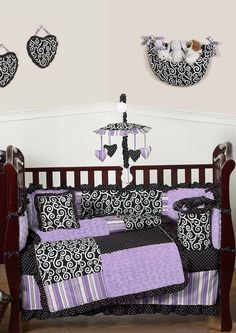 Create a stunning boutique look for your baby girl's nursery with this sensational collection. Kaylee 9 piece by Sweet Jojo Designs. Purple #NurseryBedding | Sweet Jojo Designs | #FreeShipping