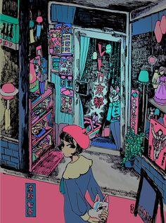 By japanese illustrator Kyoko Nakamura. Cartoon Background, Art Background, Aesthetic Drawing, Aesthetic Art, Japanese Illustration, Illustration Art, Vaporwave Art, Comic Manga, Japanese Artwork