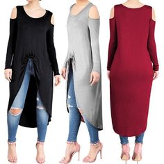 Fashion Front Twisted Cold Shoulder Asymmetrical Casual Dress