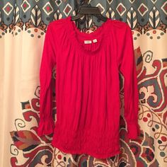 Cato Blouse Bright Red • photos Do Not do this blouse justice • Cato • Size S • long sleeved • Cato Tops Blouses