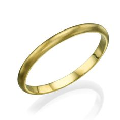 Yellow Gold Wedding Bands for Men - 2mm Rounded Brushed Matte Ring