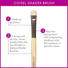 The Chisel Shader Brush, made of goat hair, is ideal for laying down and compacting shadows onto flat surfaces.