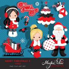 Merry Christmas Clipart Girls 2 Clipart Instant Download Christmas Graphics