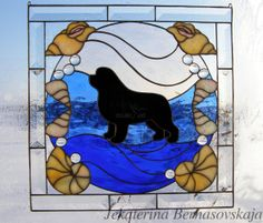 Stained glass Newfoundland with a seashells http://kolibriart.jimdo.com/english/dogs-cats/newfoundland-with-a-seashells/