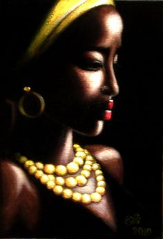 African Woman with Yellow Necklace