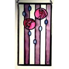 stained glass design charles rennie macintosh | Charles Rennie Mackintosh Art School Roses Pink Panel in... | Shop ...