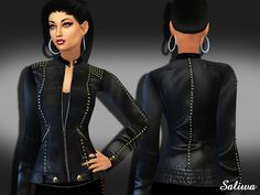 The Sims Resource: Realistic Designer Leather Jacket by Saliwa • Sims 4 Downloads