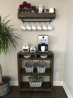 READY to SHIP NOW Shari Industrial Coffee Bar Shelf//Coffee Beverage Caddy//Industrial Pipe Coffee Bar Shelf with hooks//Coffee Cup Display - Coffee bar home Coffee Area, Coffee Nook, Coffee Bar Home, Coffee Cup, Coffee Corner, Coffee Bar Ideas, Honey Coffee, Coffee Meme, Coffee Girl