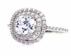 Cushion Double Halo Moissanite Engagement Ring 14K Moissanite Ring Conflict Free Diamond Alternative