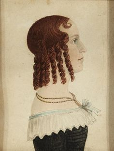 Attributed to Rufus Porter. American, 1792-1884. 1840s. Profile portrait of a young woman; lower edge bears indistinct inscription; back side of frame bears indistinct ink inscription; frame and back board each bear red accession number 50.5. Watercolor and ink on paper. Via Bonhams.