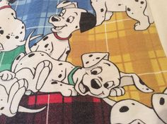 Vintage DISNEY 101 Dalmations Flat Twin Flannel Bed Sheet Cartoon Movie Vibrant