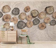 3d Wallpaper Wood, Self Adhesive Wallpaper, Wallpaper Paste, Adhesive Vinyl, Interior Design Living Room, Living Room Decor, Bedroom Decor, 3d Home, Wood Rounds