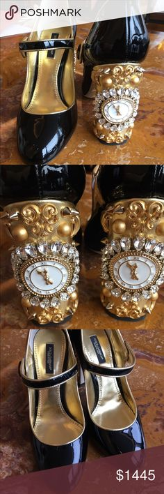 Dolce & Gabbana Cinderella Clock Mary Janes Dolce&Gabbana Mary Janes - Fall/Winter 2016/2017 Fairytale Collection!  Black patent leather, styled with gold metallic leather piping and a gold metallic leather heel encrusted in crystals, studs, and Cinderella's clock -- just before the stroke of midnight.  Stunning shoes by all accounts.  These are size 37.5 but would fit a US 7-7.5 best. Limited edition from Fall 2016 - SOLD OUT.  Brand new, in original box with dust bags.  Priced at cost…
