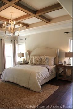 The floor and ceiling of this bedroom are equally interesting to look at. For inspiration or a consultation regarding custom wide plank floors, visit OakAndBroad.com
