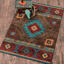 Whiskey River Turquoise Rug - 3 x 4 Also a narrow version