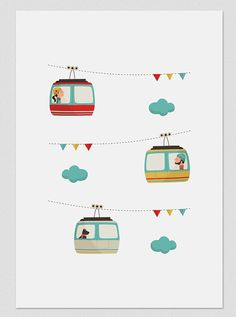 Illustration. Cable car. Print. Wall art. di Tutticonfetti su Etsy