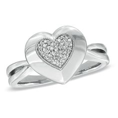 1/10 CT. T.W. Diamond Pavé Heart Ring in Sterling Silver - Size 7