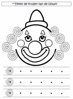 Clown Crafts, Carnival Crafts, Pre Writing, Writing Skills, Preschool Worksheets, Preschool Activities, Decoration Cirque, Theme Carnaval, Le Clown