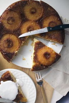 Pineapple Upside Down Cake- recipe for pineapple upside down cake made with coconut milk, baked in a skillet and served with coconut whipped cream