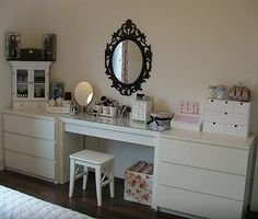 IKEA malm dressing table an Ung drill mirror. Bedroom Decor, Beauty Room, Ikea, Home Deco, Vanity Room, Home Decor, Home Bedroom, Vanity, Room Inspiration