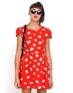 Motel Topi Tea Dress in Tomato Daisy Print, TopShop, ASOS, House of Fraser, Nasty gal