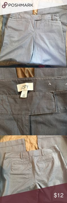 Ladies dress pants Brand new without tags - never worn- Gray with white pinstripe wide legged dress pants. Flat front measures 19 1/2. Ann Taylor Loft LOFT Pants Wide Leg