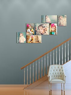 staircase wall art displat - lots more examples here!