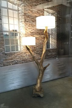Floor lamp with double lampshade made from old oak tree mounted on boulder: very unique, and epitome of recycling raw materials. More info on my website GBHNatureArt on Etsy .