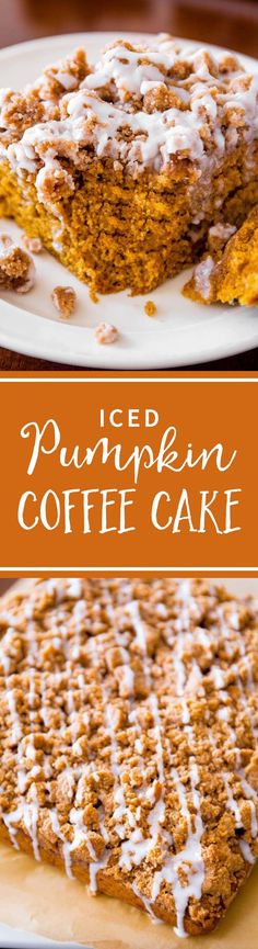 Iced Pumpkin Coffee Cake - super moist, bursting with fall spices, and easy to make! Recipe on sallysbakingaddiction.com