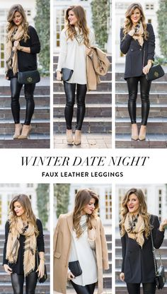 Winter Date Night Outfit Idea: faux leather leggings // leather leggings outfit ideas // date night for winter // plaid scarf outfit