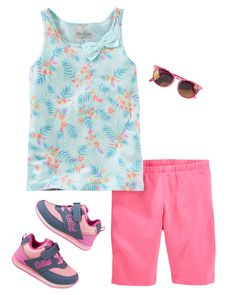 Easy to pair, her favorite bow tanks and playground shorts are just as easy to wear for jump rope and hopscotch competitions.