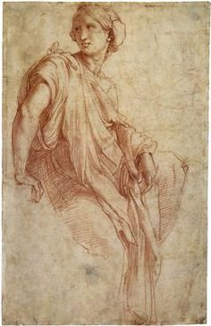 Raphael, Study for the Phrygian Sibyl, 1511-1512. This drawing is a study for the Chigi chapel in Santa Maria della Pace in Rome.  #raphael #drawing