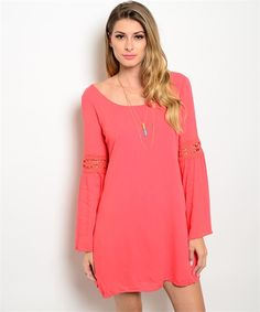 Coral Boho Dress at The Gypsy Den Boutique