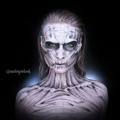 NO PROSTHETICS, done in eyeshadow (aside from the white body paint base) EASY white walker!