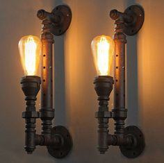 RARE large light pipe Vintage style Industrial Edison metal ceiling wall Lamp Pipe Lighting, Retro Lighting, Wall Sconce Lighting, Lighting Ideas, Metal Ceiling, Ceiling Lights, Lampe Tube, Rideaux Design, Vintage Wall Lights