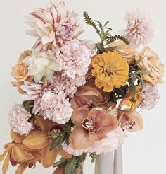 faded pastel pink and autumnal orange shades. Perfect bridal bouquet for an Autumn wedding Fall Flowers, Fresh Flowers, Beautiful Flowers, Floral Bouquets, Wedding Bouquets, Wedding Dresses, Floral Wedding, Wedding Flowers, Planting Flowers