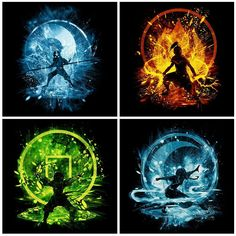 Aang, Katara, Toph & Zuko's designs for T-shirts Avatar Aang, Avatar Airbender, Avatar Legend Of Aang, Team Avatar, Legend Of Korra, Tattoo Geek, Arte Ninja, Element Symbols, Avatar World