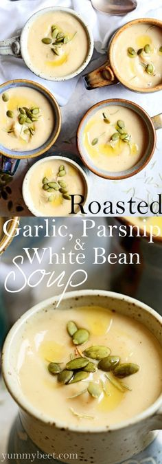 Roasted garlic, parsnip and white bean soup